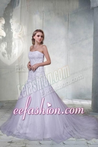 Beautiful A Line Court Train Appliques Wedding Dresses with Strapless