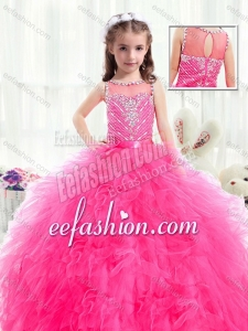 Beautiful Bateau Hot Pink Little Girl Mini Quinceanera Dresses with Beading