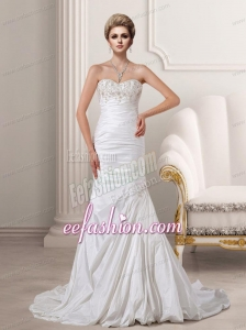 Beautiful Court Train Mermaid Sweetheart Wedding Dresses with Embroidery