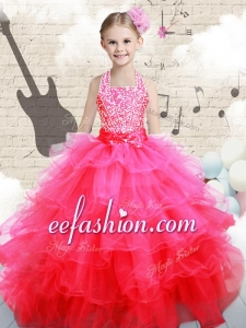 Beautiful Halter Top Hot Pink Little Girl Pageant Dresses with Beading