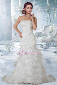 Beautiful Lace Court Train Wedding Dress with Strapless