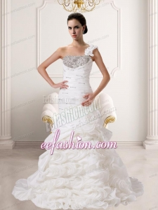 Beautiful Mermaid 2014 One Shoulder Wedding Gowns With Beading