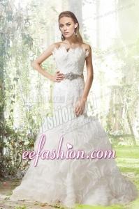 Beautiful Mermaid Court Train Wedding Dress with Beading