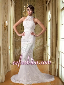 Beautiful Mermaid High Neck Court Train Lace Appliques Wedding Dress