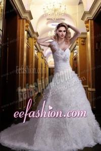 Beautiful Princess One Shoulder Court Train Beading Wedding Dresses