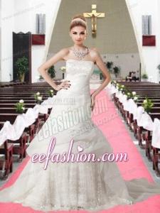 Beautiful Strapless A Line Chapel Train Appliques Lace Wedding Dresses