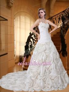 Beautiful Sweetheart Court Train Fabric With Rolling Flowers Ruching Wedding Dress