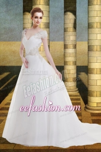 Cap Sleeves A Line V Neck Beading Court Train Wedding Dress for 2014