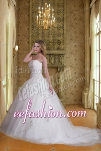 Cheap A Line Strapless Appliques Wedding Dresses with Chapel Train
