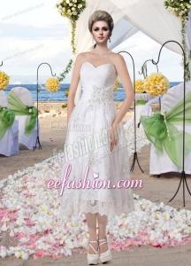 Cheap Empire Sweetheart Tea Length Appliques Lace Wedding Dresses