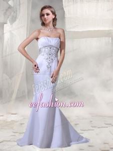 Cheap Mermaid Strapless Beading Wedding Dress with Brush Train