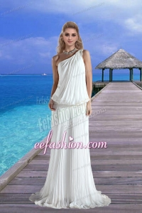 Cheap One Shoulder Pleat Wedding Dress with Court Train