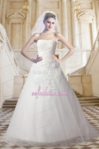 Classical Lace Strapless A Line Court Train Wedding Dress with Appliques
