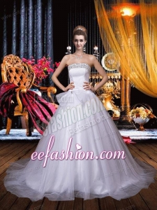 Cute A Line Strapless Chapel Train Beading Wedding Dress with Beading