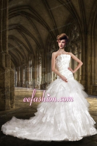 Decent A Line Strapless Appliques Wedding Dress with Chapel Train