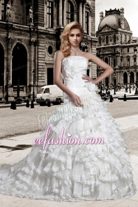 Elegant A Line Strapless Wedding Dress with Hand Made Flowers