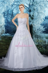 Elegant A Line Sweetheart Appliques Court Train Wedding Dresses