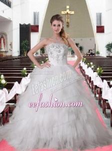 Elegant Brush Train Strapless Ruffles and Ruffles Wedding Dresses