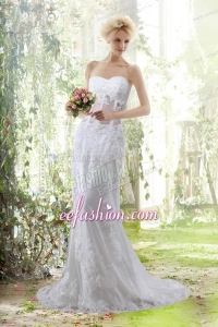 Elegant Column Sweetheart Beading Wedding Dresses with Brush Train