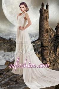 Elegant Empire V Neck Court Train Wedding Dress