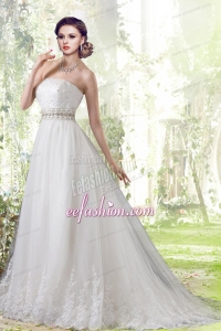 Elegant Lace Strapless Brush Train Wedding Dresses with Beading