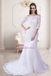 Elegant Mermaid Off The Shoulder Wedding Dress with Half Sleeves