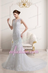 Elegant Mermaid V Neck Zipper Up Lace Wedding Dress with Court Train