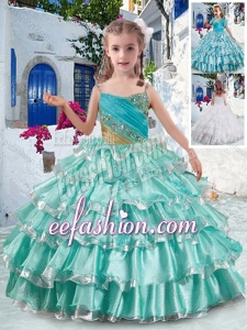 Elegant Spaghetti Straps Mini Quinceanera Dresses with Ruffled Layers and Beading