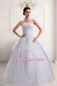 Fashionabale A Line Strapless Beading Wedding Dresses with Lace
