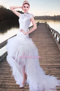 Fashionable A Line High Neck Beading Wedding Dress with High Low