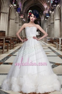 Fashionable A Line Sweetheart Chapel Train Wedding Dresses