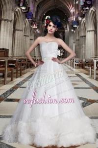 Fashionable A Line Sweetheart Chapel Train Wedding Dresses
