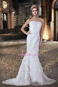 Fashionable Mermaid Strapless Lace Wedding Dress with Court Train