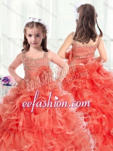 Fashionable Straps Little Girl Mini Quinceanera Dresses with Beading and Ruffles