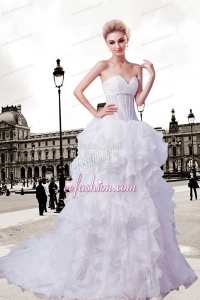 Fashionable Sweetheart Court Train Wedding Dress with Beading