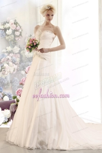 Gorgeous A Line Beading Wedding Dress with Sweetheart