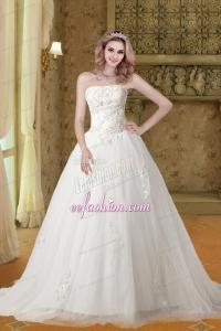Gorgeous A Line Strapless Appliques Wedding Dresses with Chapel Train