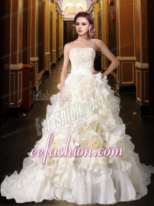Gorgeous Princess Strapless Ruffles Wedding Dresses with Chapel Train