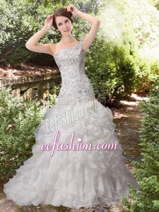 Gorgeous Ruffles A Line One Shoulder Court Train Beading Wedding Dress