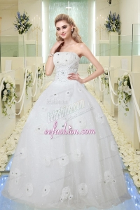 Hot Sale Ball Gown Strapless Wedding Dresses with Beading