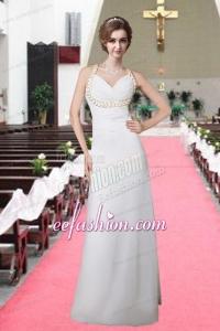 Hot Sale Column V Neck Brush Train Wedding Dress for 2015