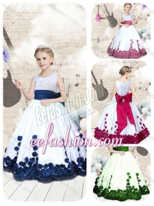 Hot Sale Scoop Long Little Girl Mini Quinceanera Dresses with Bowknot