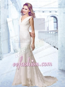 Hot Sale V Neck Ruching 2014 Wedding Dress with Lace