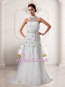 Lace Beading Brush Train Empire Wedding Dress with High Neck