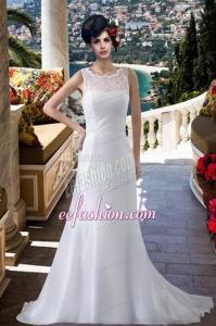 Lace Column Scoop Brush Train Wedding Dresses for 2015