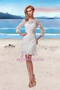 Lace Scoop Short Beach Wedding Dresses in White with 3/4 Sleeves