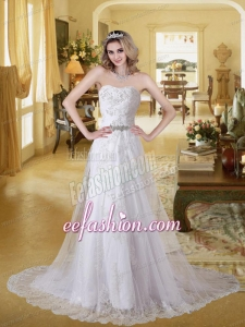 Lace Strapless Empire Court Train Beading Wedding Dresses