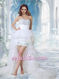 Lovely Sweetheart High Low Beading Wedding Dress