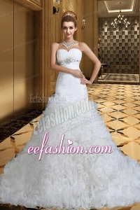Luxurious A Line Sweetheart Wedding Dresses with Beading and Ruffles