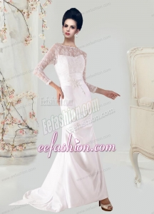 Mermaid Lace and Appliques Backeless Wedding Dresses with Long Sleeves